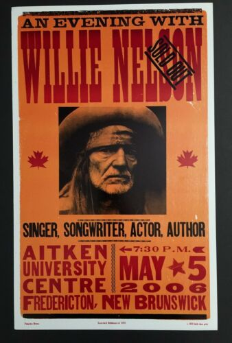 WILLIE NELSON 2006 CONCERT POSTER HATCH SHOW PRINT NEW BRUNSWICK CANADA 1 of 150