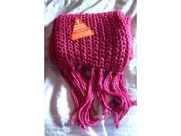 Chunky knit scarf, magenta