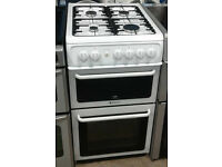 C235 white hotpoint 50cm gas cooker comes with warranty can be delivered or collected