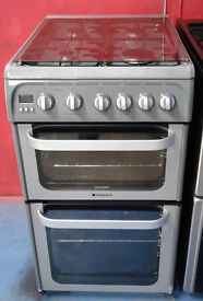 b477 silver hotpoint 50cm double oven gas cooker comes with warranty & can be delivered or collected