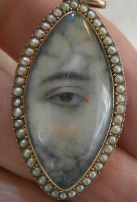 FINE GEORGIAN GOLD & PEARL NAVETTE MOURNING LOVERS EYE PENDANT WITH INSCRIPTION