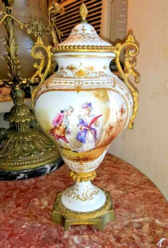 Vintage French Sevres Porcelain and Bronze Lidded Urn.