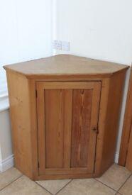 """Antique Solid Pine Corner Unit 28.5"""" x 28.5"""" - 25.5"""" Front 3 Shelves"""