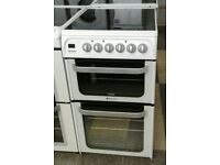 g240 white hotpoint 50cm double oven ceramic hob electric cooker comes with warranty