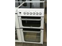 E240 white hotpoint 50cm double oven ceramic electric cooker with warranty can be delivered
