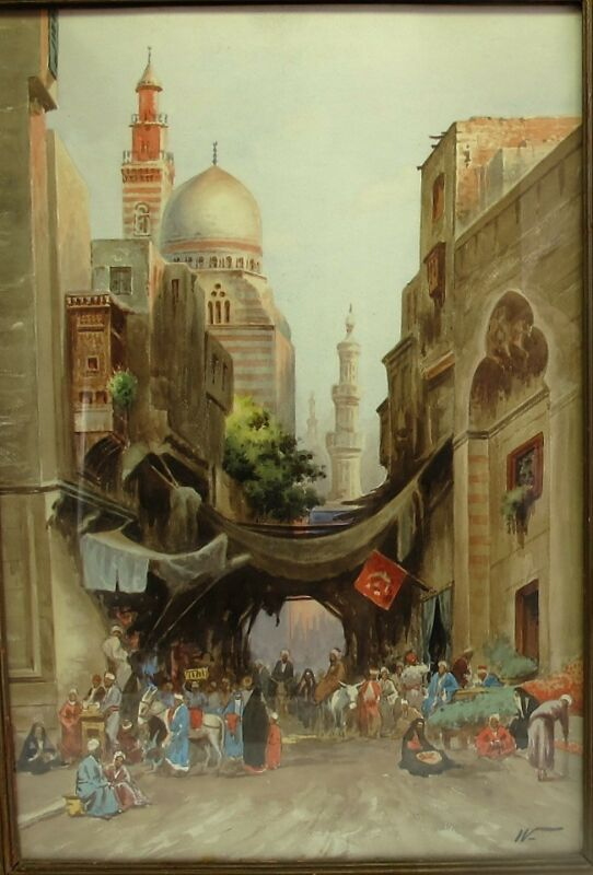 Original Antique Orientalist Painting  Edwin Lord Weeks  Cairo Bazaar Scene