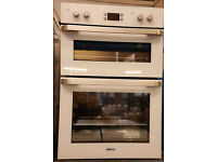 f340 white beko integrated double oven electric comes with warranty can be delivered or collected