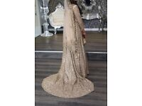 Asian Walima Wedding Dress with Trail - Nude/pink, Fits up to a size 12