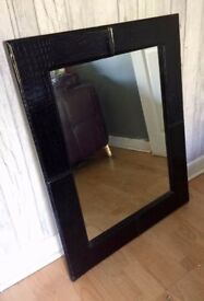 Croc Print Black Wall Mirror - Good Condition