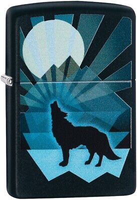 ZIPPO Full Moon & Wolf Mountain Background Black Matte Color Image 29864 *NEW*](Full Moon Background)