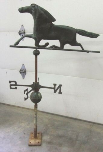 Vintage Hand Forged Copper Horse Weathervane Complete Balls & Directionals SALE