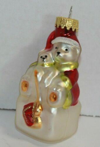 Vintage Figural Glass Polar Bear On Ice Block With Santa Suit Christmas Ornament