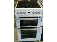 a121 white leisure 50cm ceramic hob double oven electric cooker comes with warranty can be delivered
