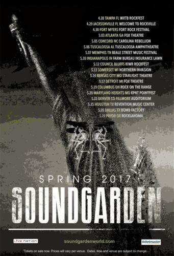 Soundgarden 2017 box office CONCERT POSTER   USA spring tour chris cornell