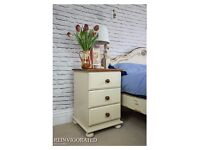 Shabby Chic Solid Pine Bedside Cabinet Chest of Drawer Cupboard