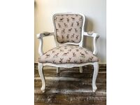 Shabby Chic French Louis Style Armchair Deer Fabric
