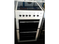 E436 white flavel 50cm ceramic hob electric cooker comes with warranty can be delivered or collected