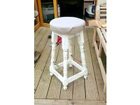 2 vintage style barstools, white chalk paint finish!