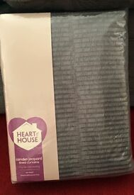"""BRAND NEW UNUSED: Heart of House Camden Jacquard lined curtains 66x54"""" ring top x2"""