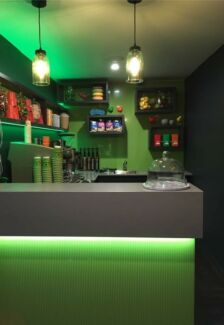 Used kitchen caesarstone benchtop coffee shop fitout
