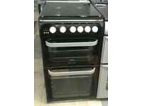 c798 black hotpoint 50cm double oven gas cooker come with warranty can be delivered or collected