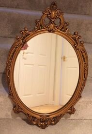 Gold heavy framed mirror vintage Shabby Chic