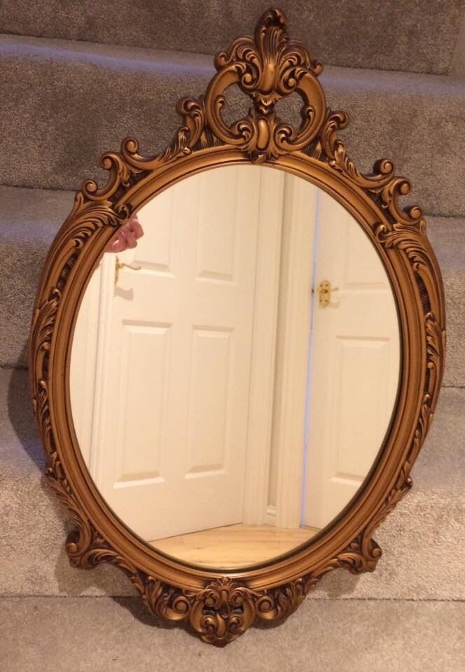 Gold heavy framed mirror vintage Shabby Chic