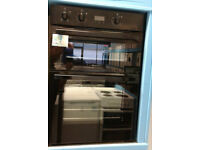 u370 black hotpoint double integrated electic oven comes with warranty can be delivered or collected