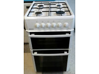 N033 white beko 50cm double oven gas cooker comes with warranty can be delivered or collected