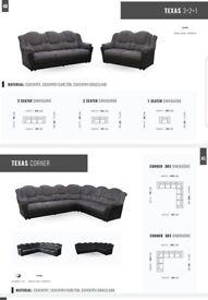 SOFA SALE PRICES: TEXAS: CORNER SOFAS, 3+2 SET, ARM CHAIRS, FOOT STOOLS