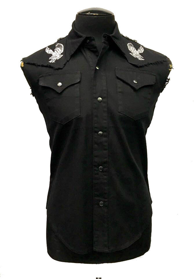 SHRINE GOTHIC EAGLES BLACK COWBOY WORKER MOTORCYCLE BIKER SLEEVELESS VEST SHIRT Casual Button-Down Shirts