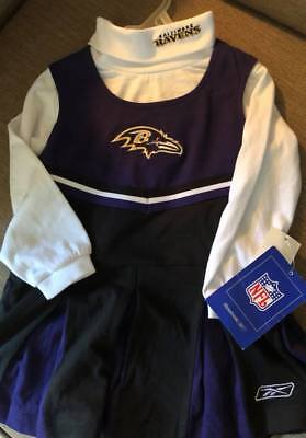 NWT GIRL'S BALTIMORE RAVENS CHEERLEADER NFL REEBOK OUTFIT HALLOWEEN SIZE 3T NEW - Raven Outfit