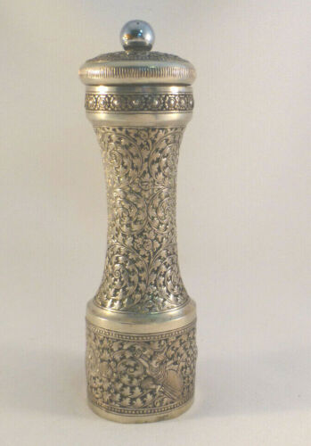 """Siam? 900 Sterling Silver Decorated Pepper Mill- 6 3/4"""""""