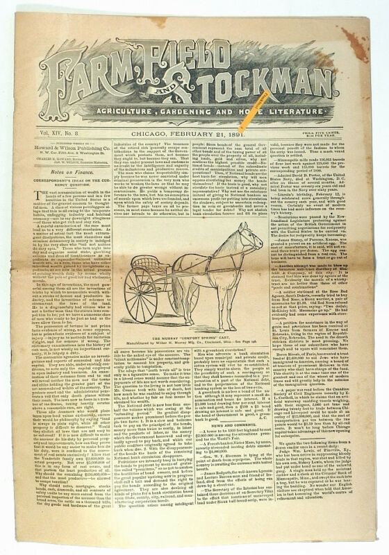 FARM,FIELD,STOCKMAN1891 Newspaper Agriculture Livestock Dairy Veterinary ONE HIT