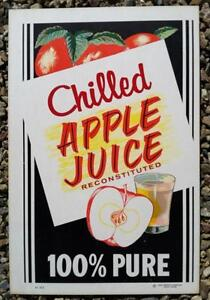 Vintage Original APPLE JUICE LARGE DINER WALL Cardboard Sign 1950s Unused NOS