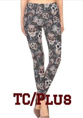 NEW Halloween Day of Dead Blue Sugar Skull Leggings TC PLUS 12-22](Blue Sugar Skull Halloween)