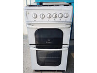 x573 white hotpoint 50cm single oven gas cooker comes with warranty can be delivered or collected