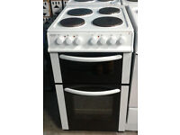 b692 white bush 50cm solid ring double oven electric cooker comes with warranty can be delivered