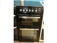 a592 black beko 50cm double oven ceramic hob electric cooker comes with warranty can be delivered