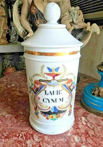 Antique French Porcelain Apothecary Lidded Jar. Limoges.