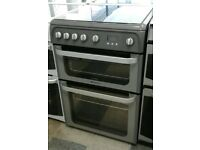 a215 silver hotpoint 60cm double oven gas cooker comes with warranty can be delivered or collected