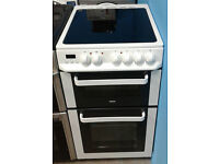 d186 white zanussi 50cm double oven ceramic eletric cooker comes with warranty can be delivered
