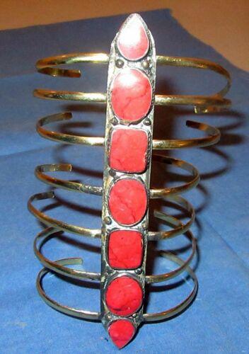 "Bracelet Gemstone Coil Cuff Afghan Kuchi Tribal Alpaca Silver 7"" tall 3"" dia"