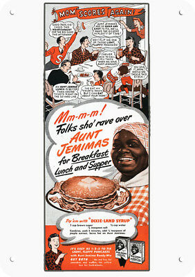 1945 AUNT JEMIMA Replica Metal Sign - BLACK AMERICANA - Mm-m-m! FOLKS SHO' RAVE