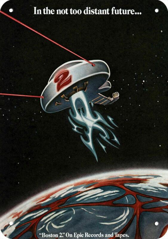 1977 BOSTON Band BOSTON 2 Album Release REPLICA METAL SIGN - UFO SPACESHIP Art
