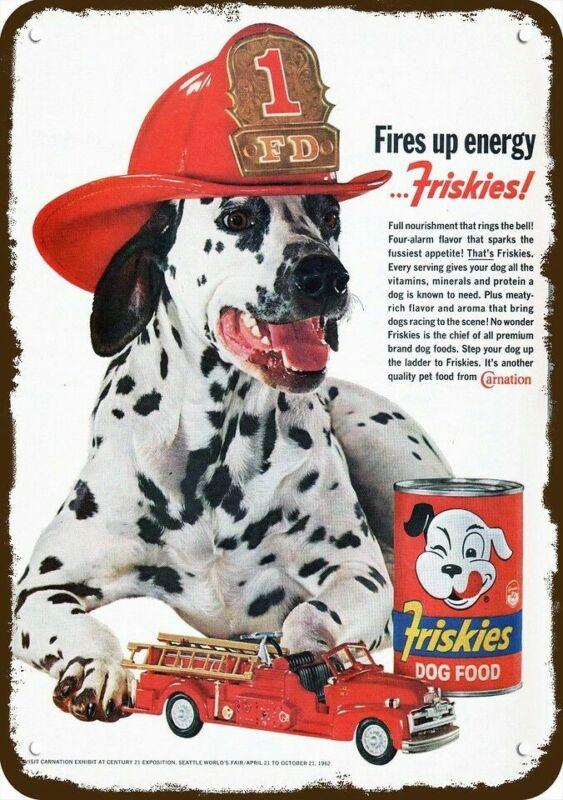 1962 FRISKIES DOG FOOD DALMATIAN in FIREMAN HAT Vintage Look REPLICA METAL SIGN
