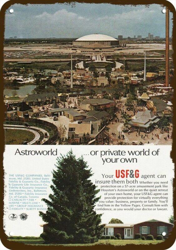 1968 USF&G & ASTROWORLD & ASTRODOME Vintage Look DECORATIVE REPLICA METAL SIGN