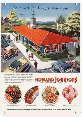 (1955 HOWARD JOHNSON'S Restaurant Ice Cream Shop & Motor Lodge Replica Metal Sign)