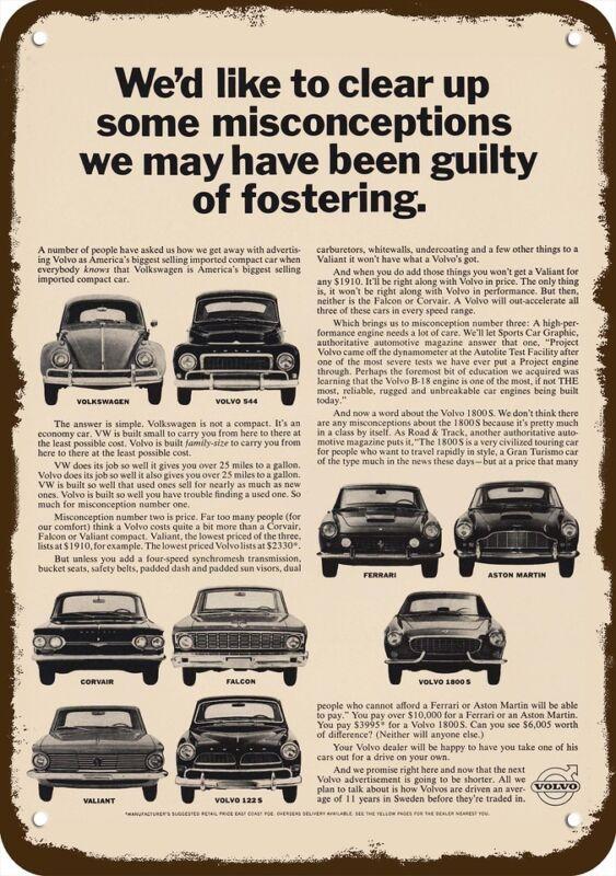 1964 VOLVO 544 - 1800 S - 122 S CAR Vintage Look Replica Metal Sign