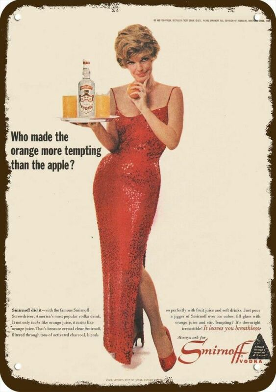 1964 SMIRNOFF VODKA Vintage Look DECORATIVE METAL SIGN SEXY ACTRESS JULIE LONDON